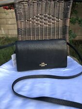 NWT COACH FOLDOVER CROSSBODY CLUTCH pebble leather F30256 BLACK