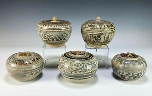 Lot of 5 Antique Thai Thailand Sawankhalok Covered Boxes