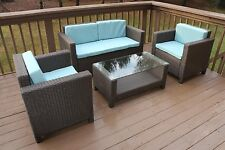 4pc Rattan WICKER Aluminum Frame OUTDOOR Patio Set Sofa Chairs and Table BLUE