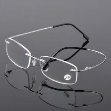 Rimless Memory Reading Glasses Men Titanium Alloy Square Presbyopic Ultralight