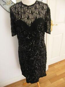 STUNNING DRESS SIZE 10-12 BLACK SILK HEAVILY BEADED VINTAGE? GATSBY FLAPPER