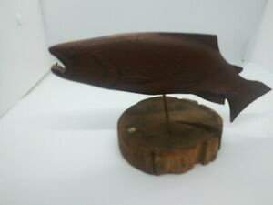FOLK ART WOOD HAND CARVING Pike FISH METAl PEG Stand Michigan Primitive Decor