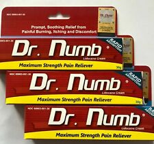 3X Dr Numb 5% Lidocaine Cream 30 gr Skin Numbing Tattoo/Removal Wax Exp 06/2022
