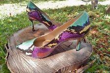 SnAkeSkiN Sz 6 M All Leather Heels PUMPs Multi Color Rainbow Beautiful Amalfi