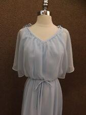 Vtg 1980s Pale Blue Maxi Dress Sz M Casual Cocktail Party Wedding Festival EUC