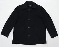 Next Mens Size M Cotton Blend Black Coat