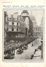 1915 WWI PRINT ~ KING GEORGE V ON HIS WAY TO ST.PAULS FOR INTERCESSION SERVICE