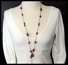 Vintage Shades of Red Italian Art Glass Wedding Cake Bead Leather Cord Necklace