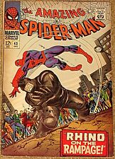 AMAZING SPIDERMAN 43 F RARE KEY 2nd RHINO APPEARANCE STAN LEE KIRBY