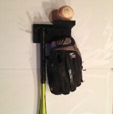 Baseball Bat Rack Display Holder Glove Bat Combo Unit Black Wall Mount CWM3