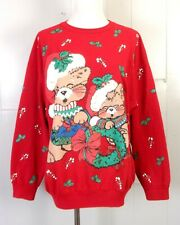 vtg 80s Nutcracker BUSY Puffy Paint Ugly Christmas Sweater Party Sweatshirt L/XL