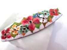 COPPER ENAMEL VINTAGE 1970'S PIN FLOWERS WHITE COLORFUL BEAUTY GREAT GIFT