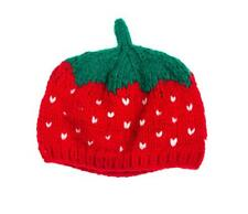 NWT Strawberry Baby Girls Red Crochet Hat 0-6 Months
