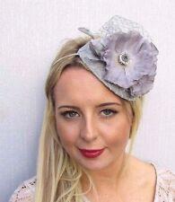 Grey Flower Fascinator Wedding Races Net Headband Teardrop Headpiece Hat 3522