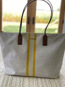 Michael Kors Travel XL Purse Center Stripe Top Zip Tote Bag Carryall Luggage NWT