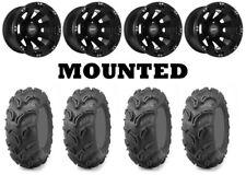 Kit 4 Maxxis Zilla Tires 26x9-12/26x11-12 on Sedona Spyder Black Wheels IRS
