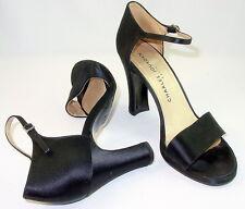 Charles Jourdan 9 Black Satin Ankle Strap Open Toe Latin Ballroom Salsa Dance