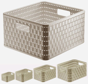 Aufbewahrungskorb Korb Kunststoff Regalkorb Plastik Ordnungsbox Rattan Cappucino
