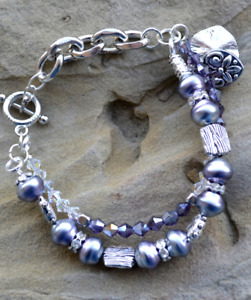 Multistrand Crystal Pearls Bracelet, Silver Dark Lilac, Double-strand, B78