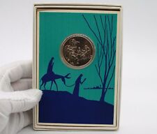 1970 Birth Of Christ Medal Coin In Christmas Greeting Card By Franklin Mint.