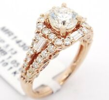 14k Pink Gold SI1/K 2.15CT, Round Diamond, W/ Accents Halo Engagement Ring,6.5