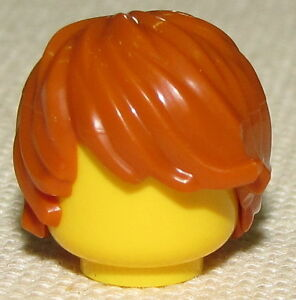 LEGO Neuf Foncé Orange Ébouriffé Minifigure - Cheveux Perruque Côté Swept Pièce