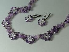 Natural Amethyst,  Designer Necklace & Earrings, Gemstone  & Swarovski beads