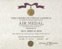 AIR MEDAL  REPLACEMENT CERTIFICATE ON 24 LB PARCHMENT PAPER SAME DAY SHIPPING