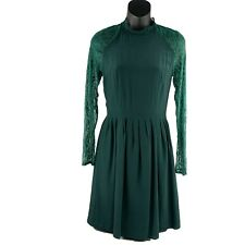 WYATT COLLECTION Forest Green 100% Silk Lace Cut Out Back Dress Size XS