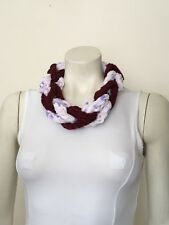 Necklace Finger Knitted Scarf Braided Chain Handmade Jewellery Burgundy Lilac