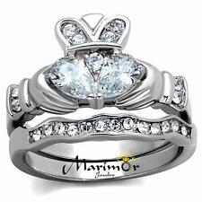 Wedding Ring Band Set Size 5-10 Women's Stainless Steel Irish Claddagh Aaa Cz