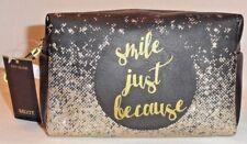 """Metallic Black & Shimmering Gold Makeup Bag """"Smile Just Because"""" Mixit New"""