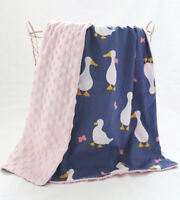 SALE $10OFF duck dark blue Minky Baby Blanket Stroller Pram Crib Shower Gift