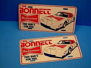 2 VTG NASCAR NEIL BONNETT #12 BUDWEISER LICENSE PLATES
