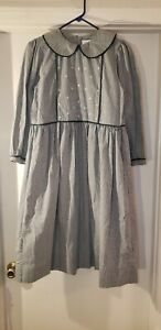 Strasburg Girls Size 14 Green and White Gingham Embroidered Dress - Adorable