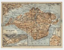 1910 ORIGINAL ANTIQUE MAP OF ISLE OF WIGHT COUNTY NEWPORT RYDE VENTNOR / ENGLAND