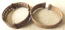 Two Brass / Copper Clip on Bracelets Full Of Filigree Jewelry