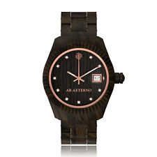 AB AETERNO Tempesta 100% Madera Sandalo Negro Cuarzo Swiss Swarovski Reloj Mujer