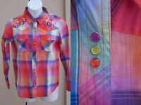 Colorful plaid western rodeo top shirt size M rockabilly pearl snap blouse