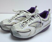 Skechers Shape Ups Womens Sz 8-1/2 White Purple Work Out Athletic Shoes Sneakers
