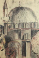 VINTAGE PASTEL DRAWING MOSQUE