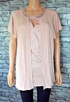 Pink Layered 2 in 1 Look Stretch Short Sleeve Crew Neck Top Blouse UK Size 14