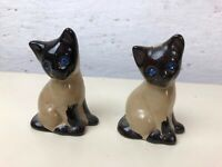 Vintage 1950's Pair of Brown Siamese Cats with Blue Gem Eyes