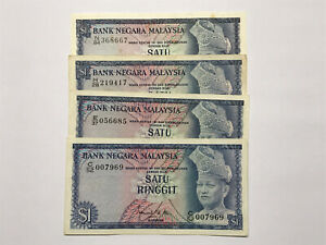 B0020 - 4pcs Malaysia RM1 Ringgit banknote 1st to 4th series - EF