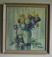 Vintage LARGE Floral Mums Zinnias Shabby Framed Art Prints Cottage Chic