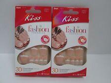 KISS FRENCH GLUE ON TOE NAILS SHORT LENGTH 30 CT 00807 TN01 BERMUDA - 2 BOXES