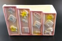 Vintage Baby Nursery Planter Pink & Blue Blocks Toys Lamb Teddy Ceramic Relpo