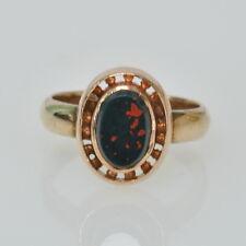 Antique Vintage 14k Rose Gold Bloodstone Solitaire Gemstone Estate Ring