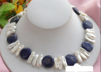 14mm Natürliche Blaue Münze Lapislazuli & Weiße Biwa Perlenkette 18 ''