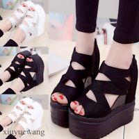 Womens Peep toe High Platform Hidden Wedge Heel Hollow out Roman Shoes Sandals #